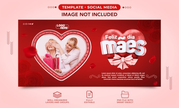 Plantilla de publicación facebook instagram red happy mothers day para composición en brasil