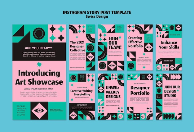 Plantilla de publicación de historia de instagram de diseño suizo