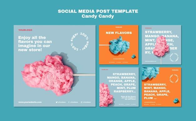 Plantilla de publicación de instagram de algodón de azúcar en palo