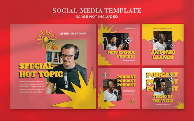 Plantilla de publicación de instagram y banner de redes sociales de podcast retro