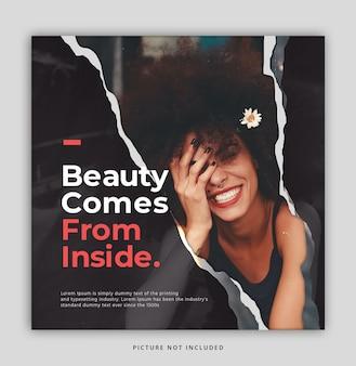 Plantilla de publicación de instagram de belleza de papel rasgado