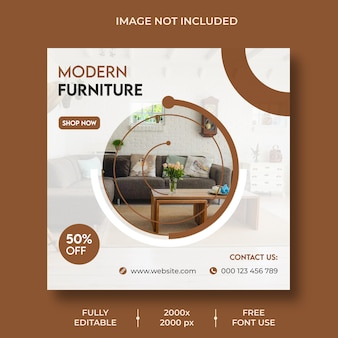 Plantilla de publicación de instagram de diseño de interiores mínimo