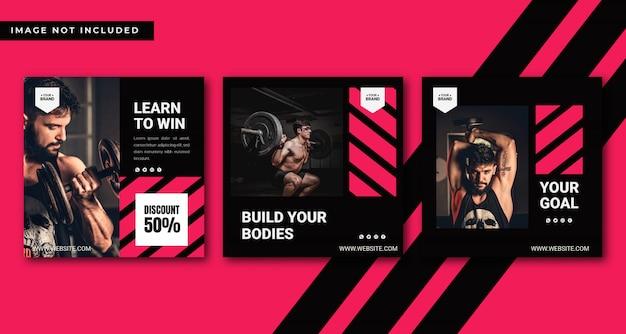 Plantilla de publicación de instagram de gimnasio y fitness