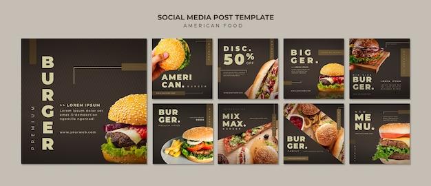 Plantilla de publicación de instagram de hamburguesa