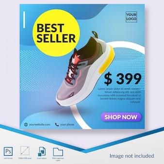 Plantilla de publicación de instagram o banner cuadrado de oferta de productos de zapatos más vendidos