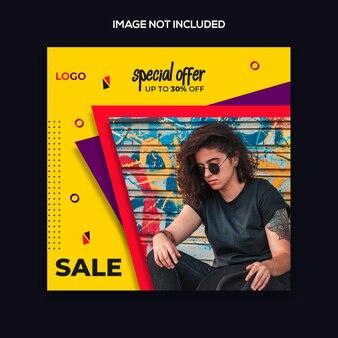 Plantilla de publicación de instagram o diseño moderno de moda de banner cuadrado