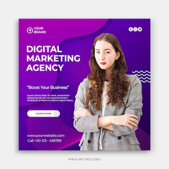 Plantilla de publicación de instagram o folleto cuadrado con banner de marketing digital o concepto de promoción de anuncios