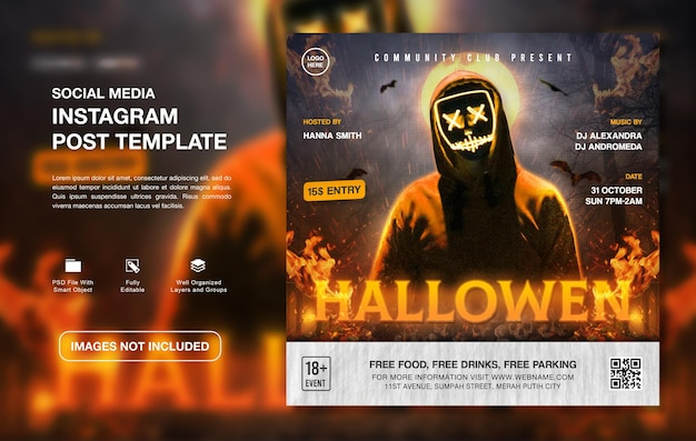 Plantilla de publicación de instagram de promoción de fiesta de dj hallowen creativa