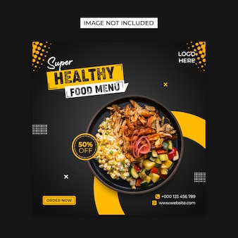 Plantilla de publicación de instagram y redes sociales de alimentos saludables