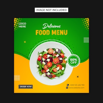Plantilla de publicación de instagram y redes sociales de alimentos