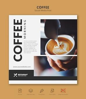 Plantilla de publicación de instagram de redes sociales de banner de café