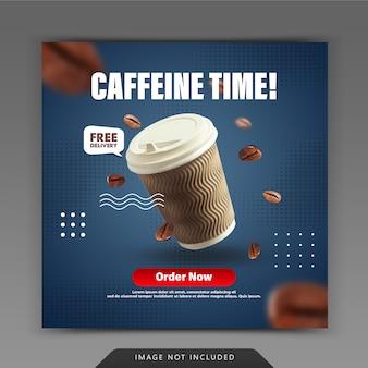 Plantilla de publicación de instagram para redes sociales de cafetería