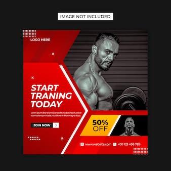 Plantilla de publicación de instagram y redes sociales de fitness gym