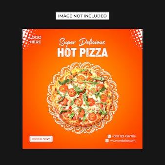 Plantilla de publicación de instagram y redes sociales de hot pizza