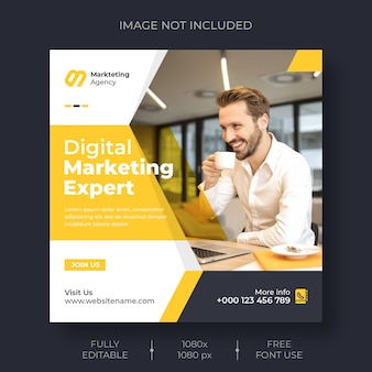 Plantilla de publicación de instagram y redes sociales de marketing digital