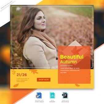 Plantilla de publicación de instagram de venta de otoño