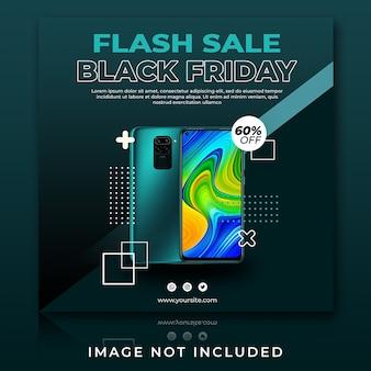 Plantilla de publicación de instagram de viernes negro de venta flash de teléfono inteligente