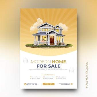 Plantilla de publicación de marketing en redes sociales de diseño de carteles promocionales de venta de casas modernas