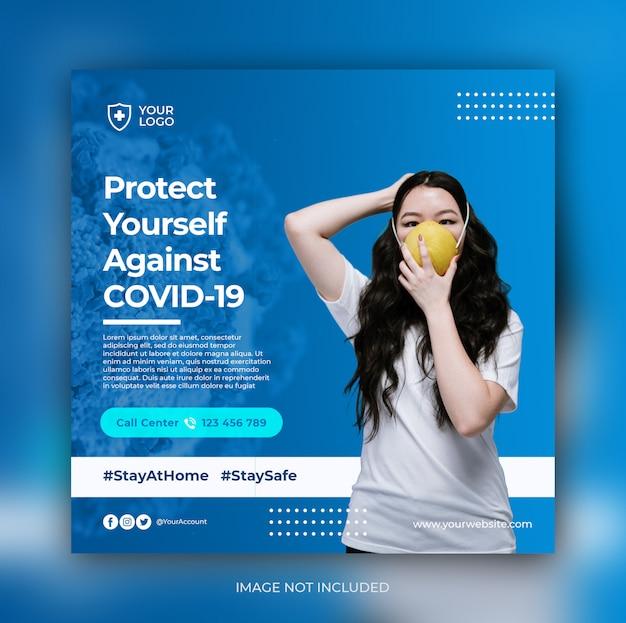 Plantilla de publicación de medios sociales de banner de prevención de coronavirus