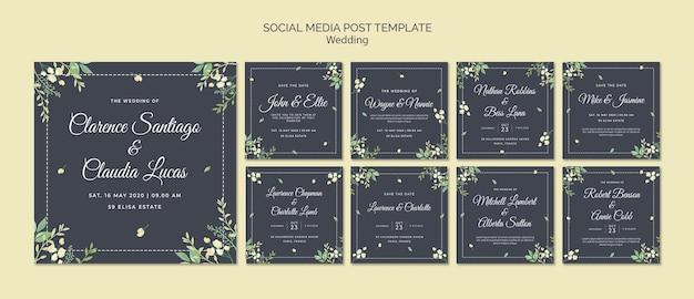 Plantilla de publicación de medios sociales de boda