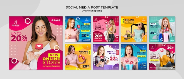 Plantilla de publicación de medios sociales de concepto de compras en línea