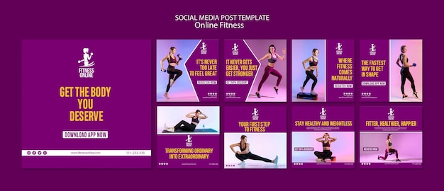 Plantilla de publicación de medios sociales de concepto de fitness en línea