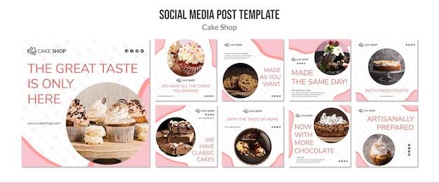 Plantilla de publicación de medios sociales de concepto de tienda de pasteles