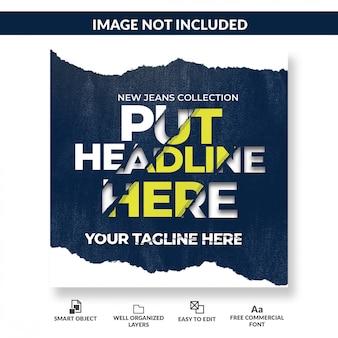 Plantilla de publicación de medios sociales de efecto de texto de papel rasgado