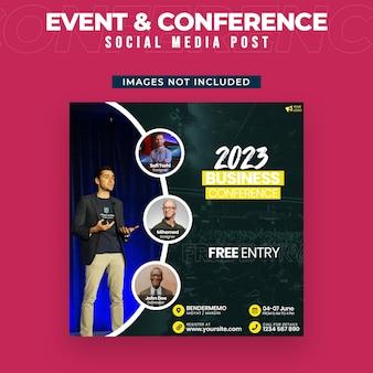 Plantilla de publicación de medios sociales para eventos y conferencias