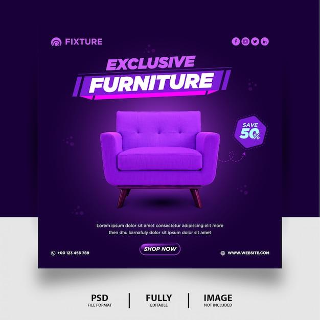 Plantilla de publicación de medios sociales exclusiva de venta de muebles púrpura