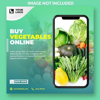 Plantilla de publicación de medios sociales promocionales de comestibles en línea