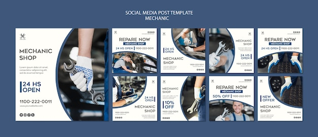 Plantilla de publicación de medios sociales de taller mecánico