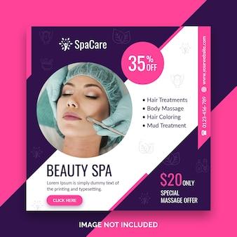 Plantilla de publicación de oferta de descuento de spa de belleza