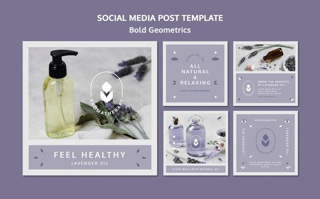 Plantilla de publicación de redes sociales de aceite de lavanda