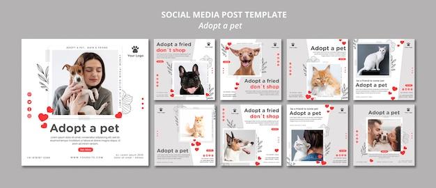 Plantilla de publicación en redes sociales con adopción de mascota