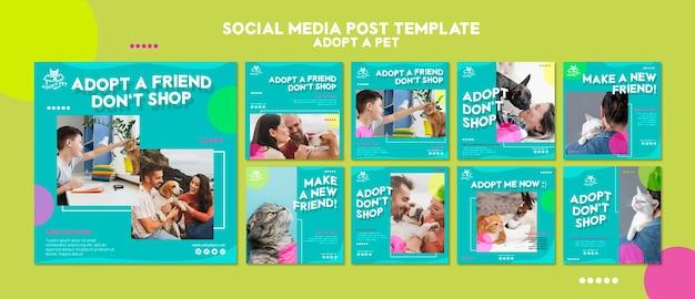 Plantilla de publicación en redes sociales de adopción de mascotas