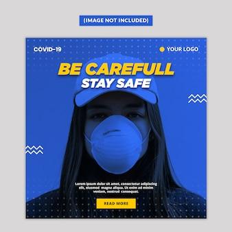 Plantilla de publicación de redes sociales de advertencia de virus corona