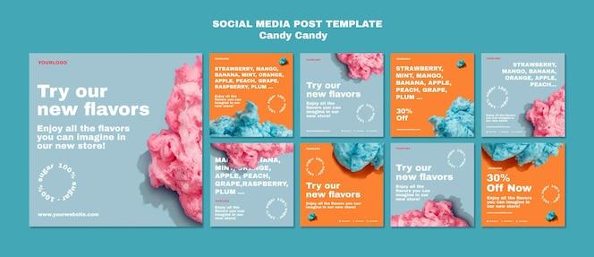 Plantilla de publicación de redes sociales de algodón de azúcar en palo