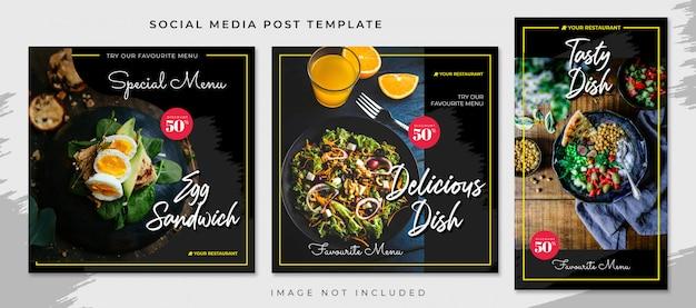Plantilla de publicación de redes sociales de alimentos negros amarillos