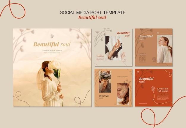 Plantilla de publicación de redes sociales de anuncio de alma hermosa