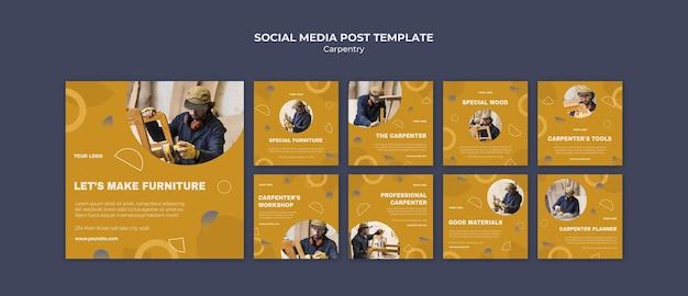 Plantilla de publicación de redes sociales de anuncio de carpintero