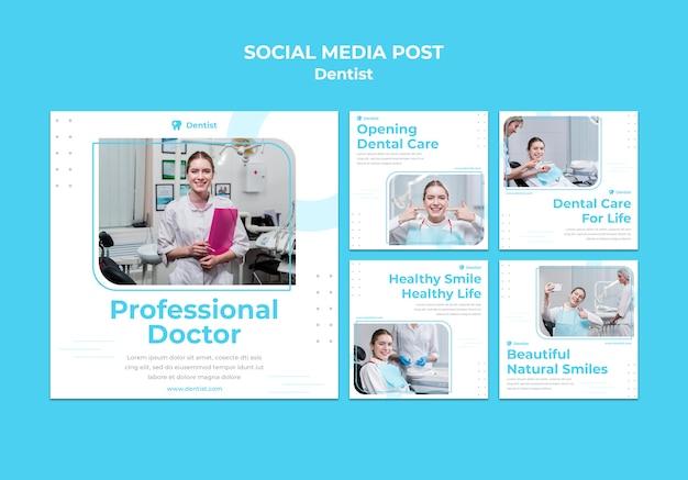 Plantilla de publicación de redes sociales de anuncio de dentista