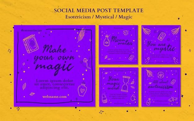 Plantilla de publicación de redes sociales de anuncio de esoterismo