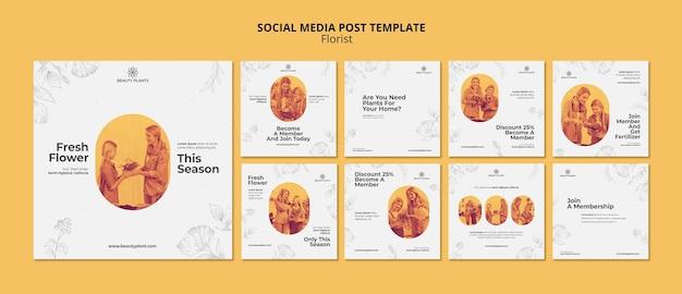 Plantilla de publicación de redes sociales de anuncio de floristería