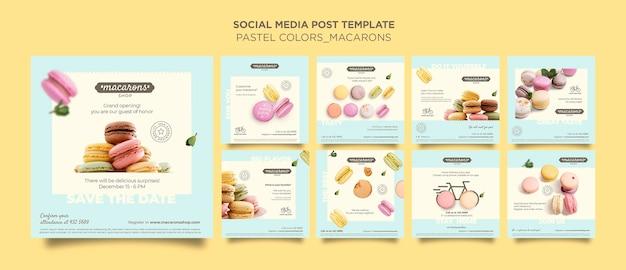 Plantilla de publicación de redes sociales de anuncio de tienda de macarons