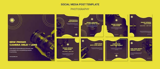Plantilla de publicación de redes sociales de anuncios de fotografía