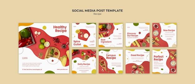 Plantilla de publicación de redes sociales de anuncios de recetas