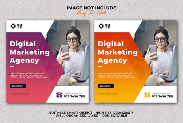 Plantilla de publicación de redes sociales de banner de agencia de marketing digital
