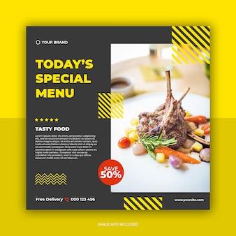 Plantilla de publicación de redes sociales de banner de restaurante y menú de comida