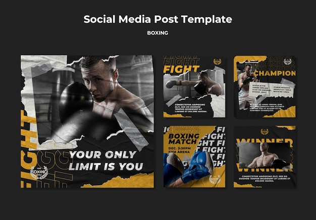 Plantilla de publicación de redes sociales de boxeo